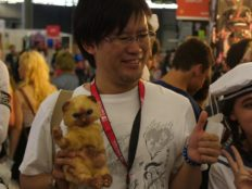 Shintaro Kojima et les fans de MONSTER HUNTER à la chasse au Valstrax à la Japan Expo